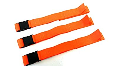 LINE2design Backboard Spine board Straps with Loop Ends - Orange 3 Pack 5'