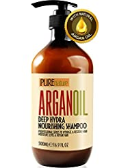 Moroccan Argan Oil Shampoo SLS Sulfate Free Organic - Best for Damaged, Dry, Curly or Frizzy Hair - Thickening for Fine / Thin Hair, Safe for Color and Keratin Treated Hair