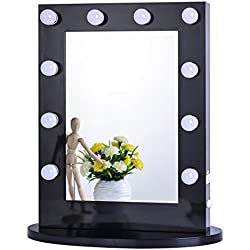 Chende Black Hollywood Makeup Vanity Mirror with Light Tabletops Lighted Mirror with Dimmer, LED Illuminated Cosmetic Mirror with LED Dimmable Bulbs, Wall Mounted Lighting Mirror (6550, Black)