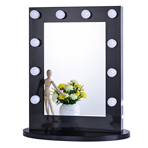 Chende Black Hollywood Makeup Vanity Mirror with Light Tabletops Lighted Mirror with Dimmer, LED ...