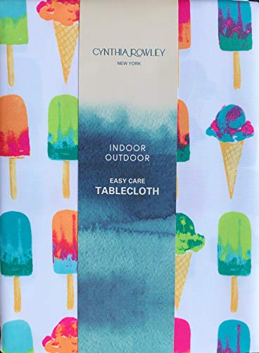 Cynthia Rowley Easy Care Tablecloth Popsicles Ice Cream Cones Bright Summer Colors on White (60 Inches x 120 Inches)