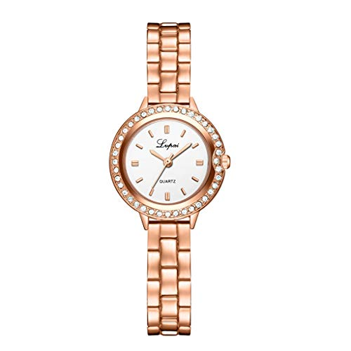 (Watches for Women On Sale, LUCAMORE Clearance Girls Rhinestone Crystal Wrist Watches Stainless Steel Band Analog Watch)
