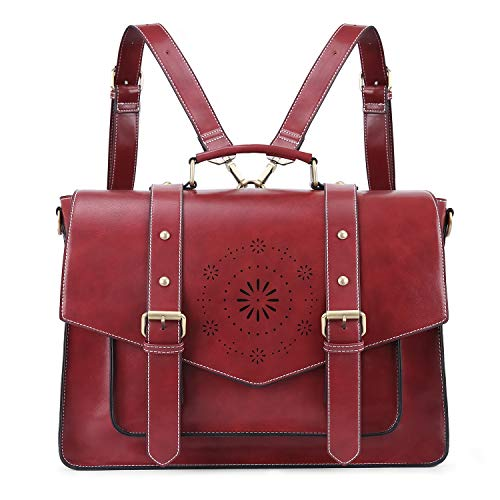 ECOSUSI Women's Briefcase Messenger Laptop Bag PU Leather Satchel Work Bags Fits 15.6 inch Laptops, Red
