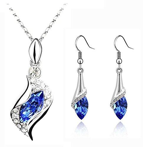 CrazyPiercing Long Teardrop False Element Set Austria Crystal Fashion Earrings Pendant Necklace (blue)