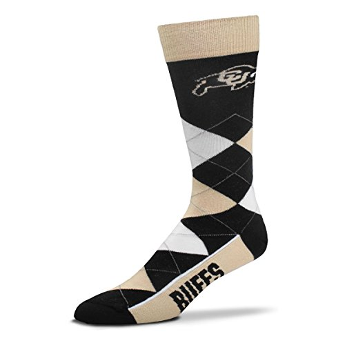 For Bare Feet NCAA Argyle Lineup Crew Socks (Colorado Buffaloes, One Size Fits Most)
