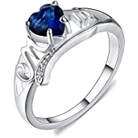 PR Jewelry Blue Sapphire CZ Heart Cut Mom Ring White Gold Carving MOM Hollow Mothers Day Gift (9)