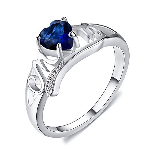 PR Jewelry Blue Sapphire CZ Heart Cut Mom Ring White Gold Carving MOM Hollow Mother's Day Gift (10)