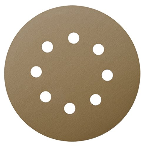 Tigershark 5 Inch Sanding Discs 8 Hole Grit 400 5pcs Pack Special Anti Clog Coating Paper Gold Line Hook and Loop Velcro Dustless Random Orbital Sander Paper Very Fine (Hook Grit 400)