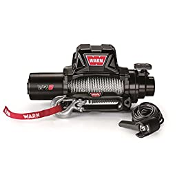 WARN 96800 VR8 12V Electric Winch with Steel Cable Rope: 5/16″ Diameter x 94′ Length, 4 Ton (8,000 lb) Capacity