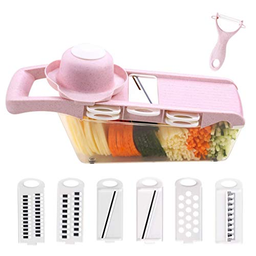 YHNUJMIK 6 in 1 Mandolin Vegetable Cutting Machine Multifunctional Potato Grater Kitchen Utensils Fruit and Cheese Stainless Steel with Storage Box Pink