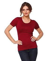 Happy Mama. Womens Maternity Nursing Double Layer T-shirt Round Neckline. 991p