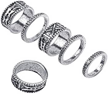 SUNSCSC Bohemian Gypsy Vintage Retro Joint Knuckle Nail Ring Set of 6 Rings Silver Plated