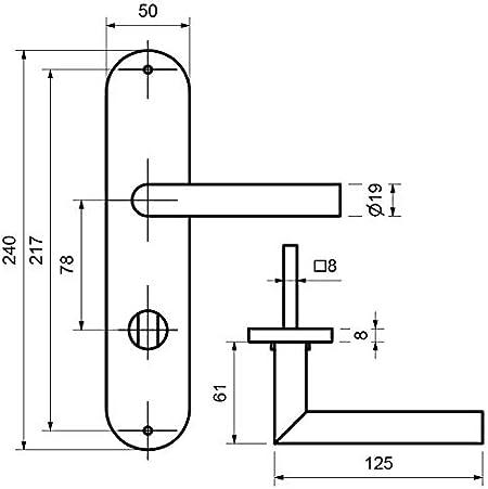 Profilzylinder T/ürgriff von lockzz: Dr/ückergarnitur N/ürnberg T/ürbeschlag f/ür Wohnungseingangst/üren beidseitig Dr/ücker Langschild PZ Edelstahl L-Form