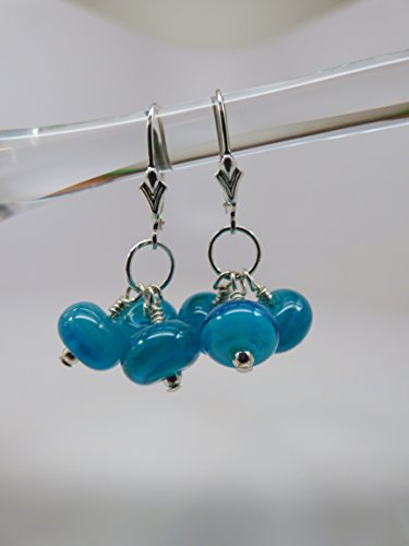 Teal Blue Artisan Dichroic Bead Triple Drop Earrings with Sterling Silver Leverback Ear Wires and Findings