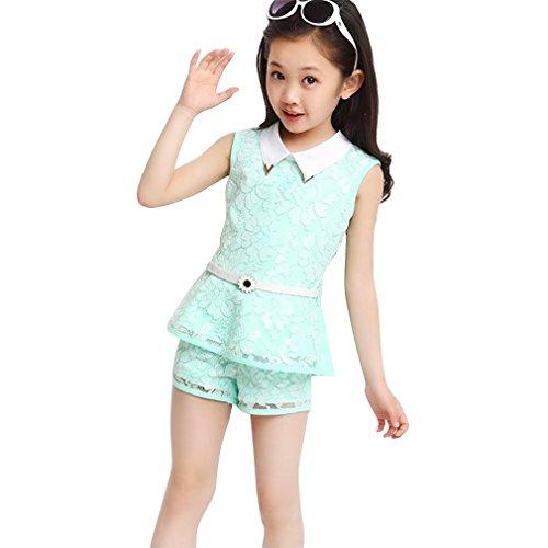 JET-BOND Girls Short Set BB17 Cami Tee and Shorts Set (7, Blue)