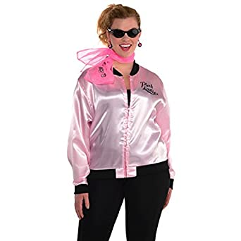 50s Costumes | 50s Halloween Costumes Pink Ladies Jacket Plus Size XXL $31.95 AT vintagedancer.com