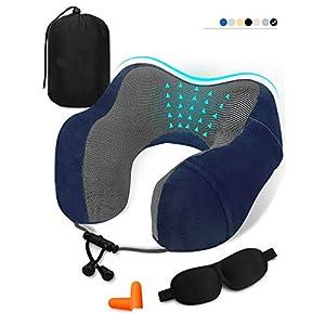 Travel Pillow Memory Foam Neck Pillow,Soft Airplane Travel Kit Includes Eye 3D Sleep Mask, Earplugs and StorageBag (1)