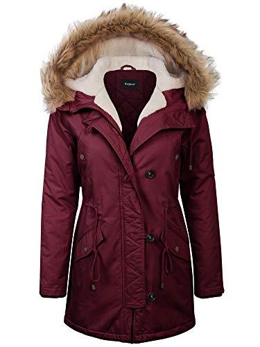 KOGMO Womens Long Anorak Coat Fur Trim Hoodie Jacket with Fuax Fur Lined-2X-WINE ()