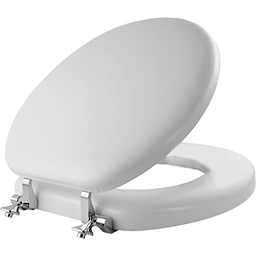(MAYFAIR Soft Toilet Seat with Chrome Hinges, ROUND, Padded with Wood Core, White, 13CP)