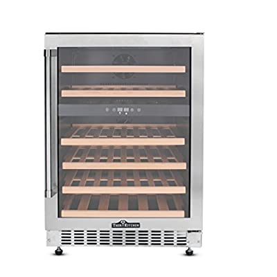 Thorkitchen JC-145A2EQ 46 Bottle Built-in & Free Standing Dual Zone Wine Cooler, Stainless Steel