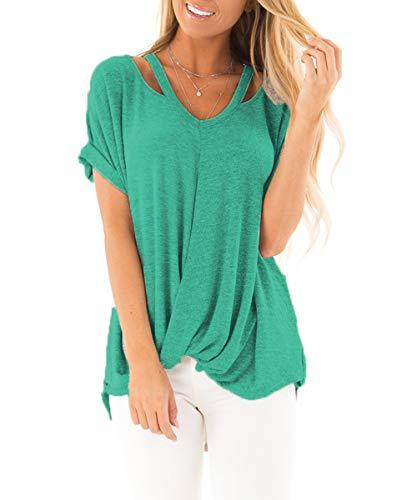 Stylish Twist - Women's Casual T Shirts Basic V Neck Twist Knot Summer Tunics Tops(Aqua-22 XL)