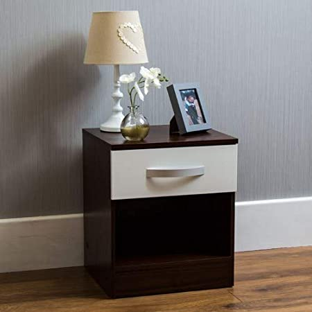 Amazon Brand - Movian High Gloss 2 Drawer Bedside Cabinet, White and Walnut, 47 x 40 x 36 cm