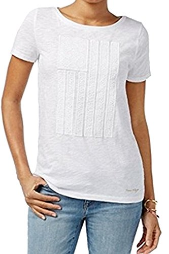 Womens Small Embroidered Tee T-Shirt White