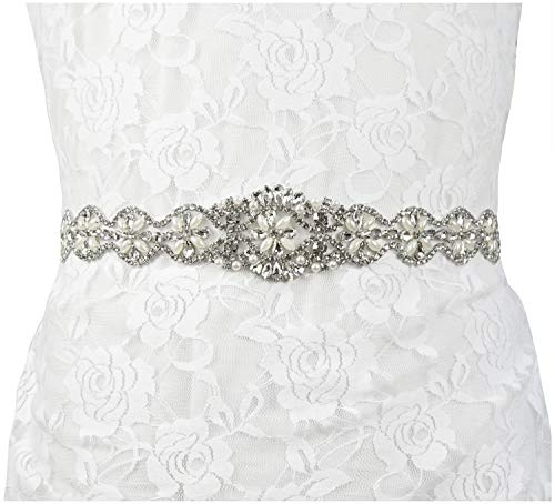 - Lovful Womens Silver Crystal Beaded Satin Bridal Sash Party Prom Dress Wedding Belt,White sash-6, One Size