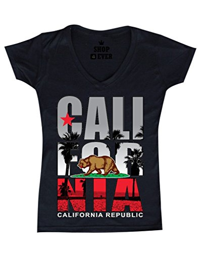 V-neck California T-shirt Womens (Shop4Ever California Republic Beach Palm Tree Women V Neck T shirt California Clothing SLIM FIT)