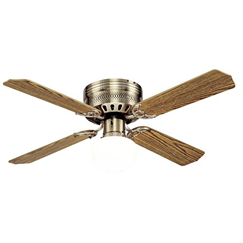 Westinghouse Lighting 7213600 Casanova Supreme 42-Inch Antique Brass Indoor Ceiling Fan, Light Kit with Opal Schoolhouse Glass,