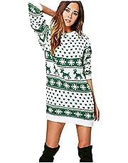 YTZL Kerstjurk voor dames, gebreide jurk met lange mouwen, elegante winterjurk, feestelijke mini-jurk, kersttrui, feestjurk, trui-jurk, knielange herfstjurk, kersttrui