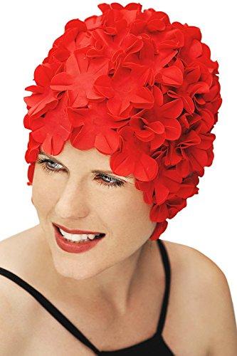 SYNC Original Swimwear Petal Swim Caps I Vintage Retro Flower Bathing Cap Red