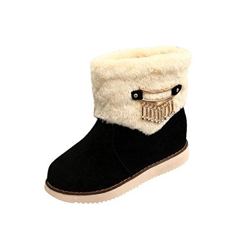 Deesee (tm) Dames Dames Laarzen Plat Winter Warm Sneeuwschoenen Martin Laarzen Zwart