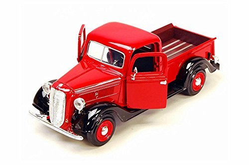 1937 Ford Pick Up Truck, Red With Black - Showcasts 73233 - 1/24 Scale Diecast Model Car by Motor Max by Motor Max