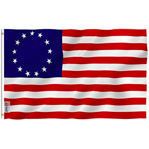 Anley Fly Breeze 3x5 Foot Betsy Ross Flag - Vivid Color and UV Fade Resistant - Canvas Header and Double Stitched - United States Flags Polyester with Brass Grommets 3 X 5 Ft ()