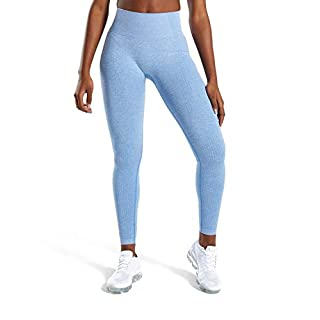MOYOOGA Seamless Leggings High Waisted Workout Yoga Gym Leggings for Women (Medium, Blue Marl)