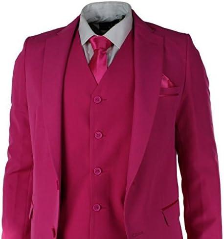 Señor Traje Rosa fuschia 5 piezas Chaqueta Pantalones corbata y ...