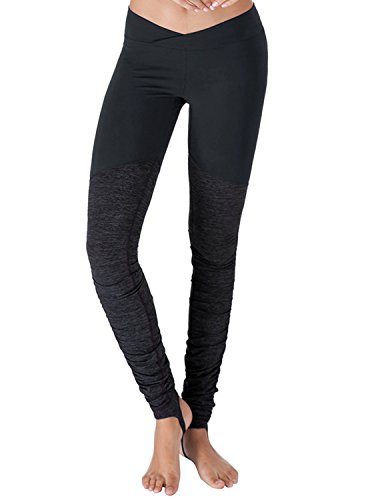 Yoga Reflex - Mesh Stirrup Hatha Yoga Pants for Women, NAVY, 2XL