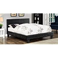 Furniture of America Hariett Leatherette Platform Bed, California King, Black