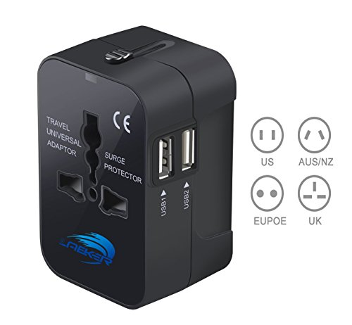 Travel Converter Adapter,LAEKER Universal All in One Worldwide Travel Adapter Wall Charger AC Power Plug Adapter with Dual USB Charging Ports for USA EU UK AUS (Black)