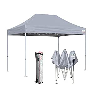Eurmax Basic 8 x 12 Ez Pop Up Canopy Party Tent Commercial Level Deluxe Wheeled Storage Bag (Grey)