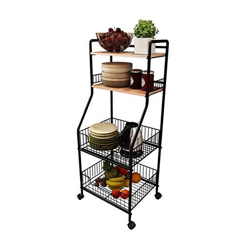 All Purpose Shelving, 4 Tier Metal Kitchen Serving Trolley Cart 42 X 34.5 X 114 cm TIDLT (Color : Teak Color, Size : - Teak Trolley Serving