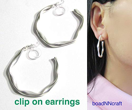 - 33mm Large Satin Matte Silver Stud Twisted Opened Hoop Clip On Earrings