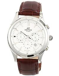 Casio Men's Edifice EFR517L-7AV Brown Leather Quartz Watch with White Dial