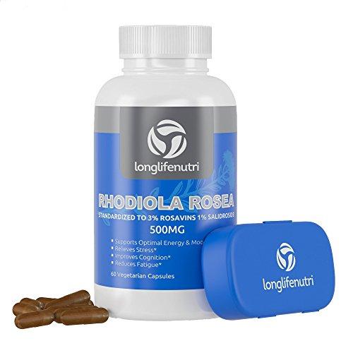 Extrait de racine de supplément de Rhodiola Rosea 500mg Pills | 60 Capsules végétariennes | Combat la fatigue | Booster d'énergie naturelle | Améliorer la perte de mémoire | Gestionnaire de cortisol | 500 Mg de poudre Anti Stress suppléments