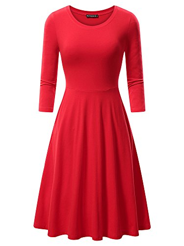FENSACE Womens 3/4 Sleeves Casual A-line Cotton Midi Dress (Large, Red)