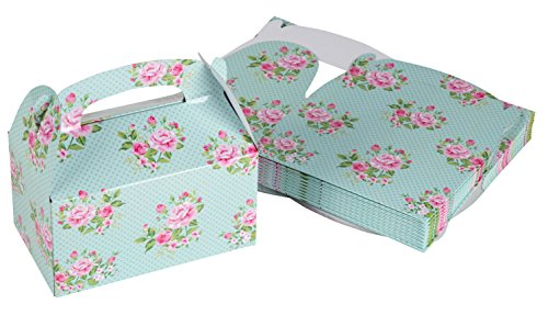 Treat Boxes - 24-Pack Paper Party Favor Boxes, Vintage Floral Design Goodie Boxes for Birthdays and Events, 2 Dozen Party Gable Boxes, 6 x 3.3 x 3.6 inches