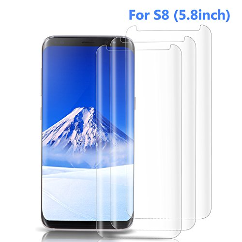 Atill Direct 3 Pack Galaxy S8 Screen Protector, [Case Friendly] [3D Curved] [HD Clear] Tempered Glass Screen Protector for Samsung Galaxy S8, Clear