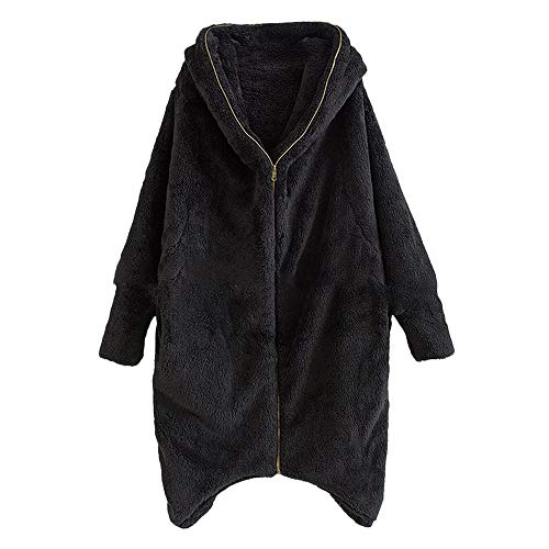 VESNIBA Women Casual Hoodie Winter Solid Zipper Pockets Irregular Cardigan Coat Outwear Clearance