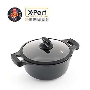 Metaltex XPERT-Cacerola Alta Aluminio Fundido, 24 cm, Antiadherente ILAG 3 Capas, Full Induction válido para Todo Tipo de cocinas